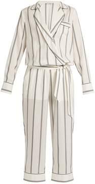 Brunello Cucinelli Monili-embellished striped silk jumpsuit