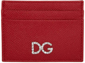 Dolce & Gabbana Red Crystal Logo Card Holder