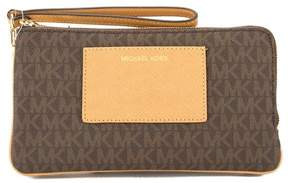 Michael Kors Brown Signature Canvas Bedford Large Double Zip Wristlet - BROWN - STYLE