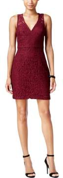 BCBGeneration Womens Deep V Lace Mini Dress