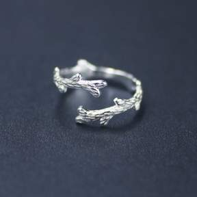 Alpha A A Silver Tone Barked Leaf Ring - One Size Fits all