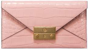Tory Burch JULIETTE EMBOSSED ENVELOPE WALLET - CLAY PINK - STYLE