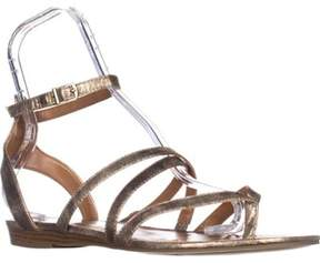 Style&Co. Sc35 Bahara Flat Ankle Strap Sandals, Gold.