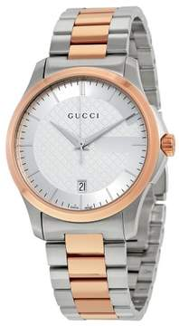 Gucci G-Timeless Silver Dial Stainless Steel and Pink Gold PVD Unisex Watch YA126447