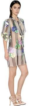 Blumarine Floral Embroidered Silk Organza Dress