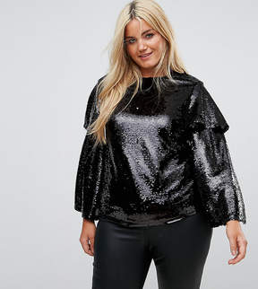 Fashion Union Plus Blouse Sequin Top With Ruffle Sleeves