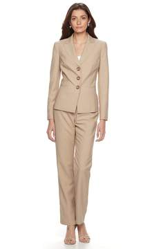 Le Suit Women's Pinstriped Suit Jacket & Straight-Leg Pants Set