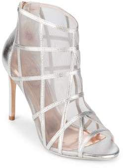 Ted Baker Crystal Leather Peep Toe Booties