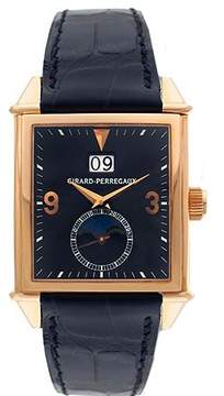 Girard Perregaux Vintage 1945 18kt Rose Gold Black Leather Men's Watch