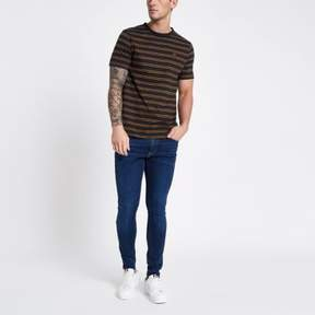 River Island Mens Navy stripe rose chest embroidered T-shirt