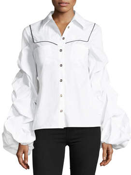 Caroline Constas Ambrose Button-Front Poplin Shirt w/ Ruched Sleeves