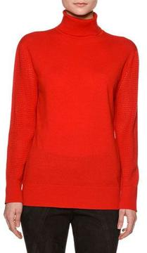 Callens Perforated-Sleeve Turtleneck Sweater, Red