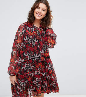 Alice & You Long Sleeve Floral Smock Dress With Tie Neck