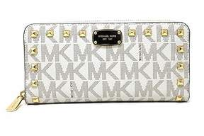 Michael Kors Jet Set Item Studded Zip Around Continental Womens Wallet (Brown) - BROWN - STYLE