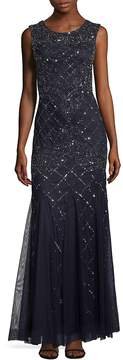 Adrianna Papell Women's Embellished Lattice Cap-Sleeve Gown