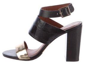 Elizabeth and James Embossed Ankle-Strap Sandals