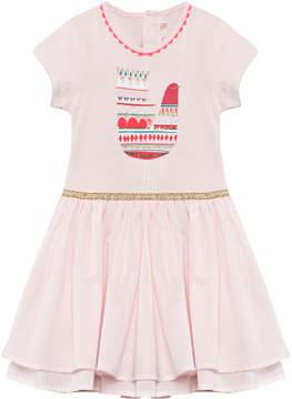 Billieblush Pink Bird Print Tiered Dress With Braided Neckline