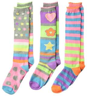 Jefferies Socks Neon Stripe Dots Knee Hi 3-Pack Girls Shoes