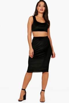 boohoo Lola Ribbed Velvet Crop and Midi Skirt Set