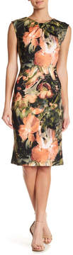 ECI Printed Scuba Bow Neck Midi Dress
