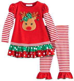 Bonnie Jean Toddler Girl Reindeer Tiered Top & Leggings Set