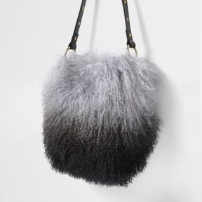 River Island Womens Black mongolian fur leather bucket bag