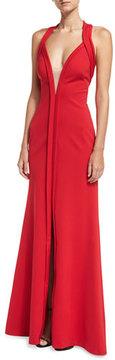 Aidan Mattox Deep V-Neck Sleeveless Mesh-Insert Halter Evening Gown