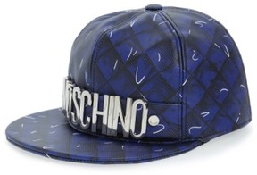 Moschino Women's 'Shadow' Leather Baseball Cap - Blue