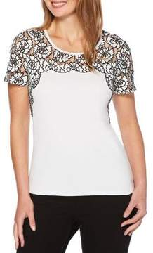 Rafaella Floral Lace-Yoke Top