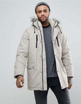 New Look Parka With Faux Fur Hood In Stone