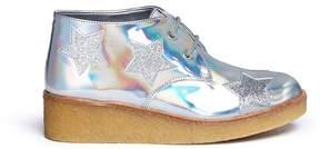 Stella McCartney 'Wendy' glitter star appliqué mirror kids wedge boots
