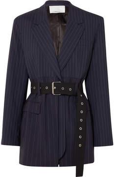 3.1 Phillip Lim Oversized Belted Pinstriped Wool-blend Blazer - Navy