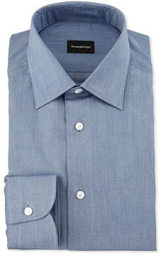 Ermenegildo Zegna Solid Flannel Dress Shirt, Blue