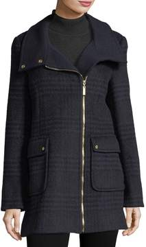 Ellen Tracy Wool-Blend Plaid Herringbone Coat