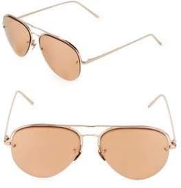 Linda Farrow 60MM Round Aviator Sunglasses