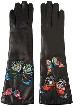 Butterfly Embroidered Leather Gloves