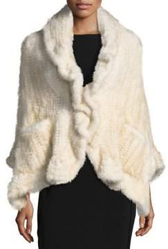 Adrienne Landau Knit Mink Fur Wrap w/ Pockets, Brown