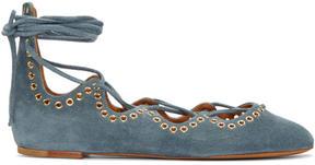 Isabel Marant Blue Suede Leo Ballerina Flats