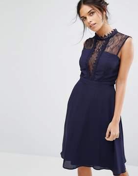 Elise Ryan Sleeveless Midi Dress With Contrast Lace Bodice