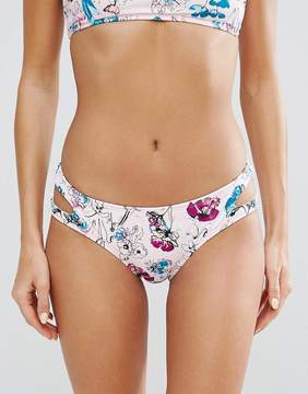 Bikini Lab Floral Cut Out Bikini Bottom