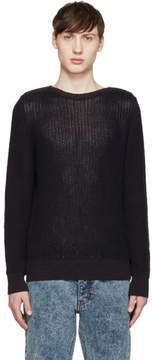 Maison Margiela Navy Zipped Collar Sweater