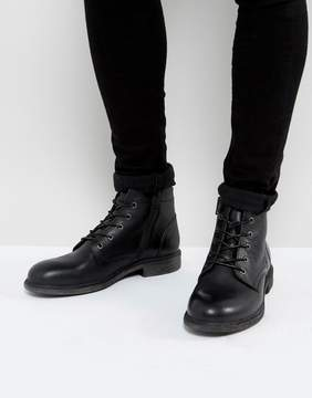 Selected Trevor Leather Lace Up Boots In Black
