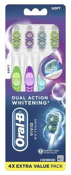 Oral-B 3D White Vivid 40 Soft Bristle Manual Toothbrush with Tongue Cleaner - 4ct