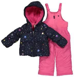 Osh Kosh Toddler Girl Star Print Jacket & Bib Snow Pants Set