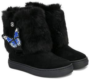 Miss Blumarine butterfly detail faux fur boots