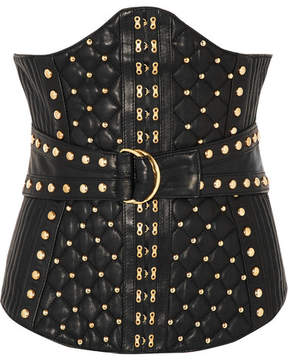 Balmain Studded Quited Leather Corset - Black