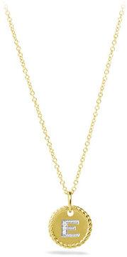 David Yurman E Pendant with Diamonds in Gold on Chain