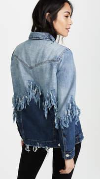 Blank Double Shredded Denim Jacket
