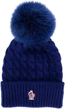 Moncler knit fox fur pom pom beanie