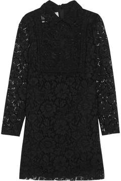 Valentino Corded Lace And Beaded Tulle Mini Dress - Black
